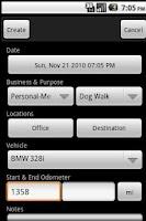 Screenshot of Business Mileage