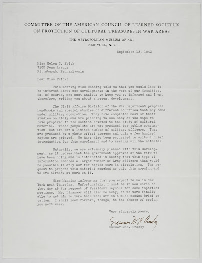 Letter from Sumner Crosby, Executive Secretary of the American Council of Learned Societies, updating Miss Frick on the activities of the Committee. Discusses the production of handbooks for military officers that will include the maps the Library helped create.