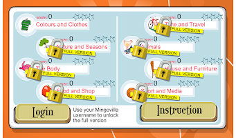 Screenshot of English kids crossword puzzle