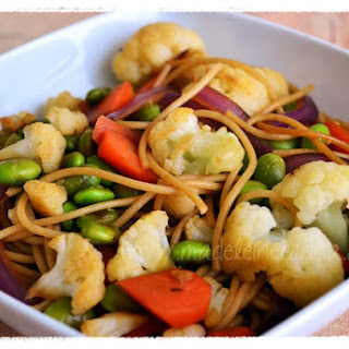 Spaghetti with Sauteed Vegetables and Beans
