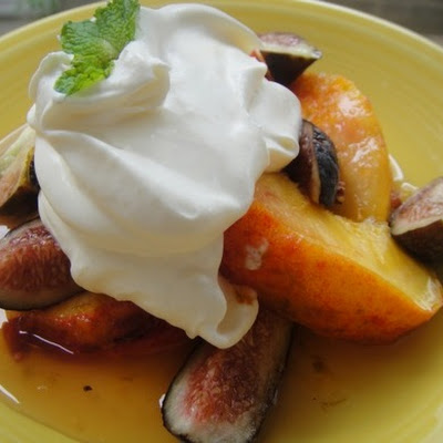 Honey-Lime Peaches with Crème Fraîche Clouds