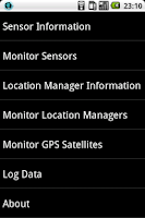 Screenshot of Sensor and GPS Monitor