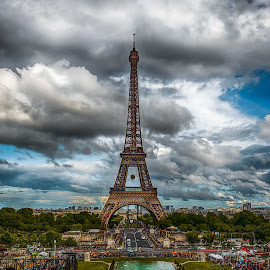 Eiffel with a Dramatic Sky Backdrop by Sheldon Anderson - Buildings & Architecture Statues & Monuments ( clouds, paris, pool, eiffel, storm clouds, day, dramatic sky, scenic )
