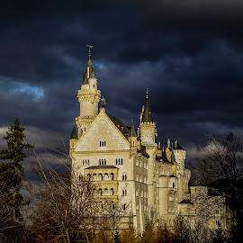Neuschwanstein Castle by Darkeyes Photography - Buildings & Architecture Public & Historical ( building, architecture, storm, landscape, panorama, photography, city, schloss, weather, cloud, cloud formation, castle, germany, view, historical, neuschwanstein castle, neuschwanstein,  )