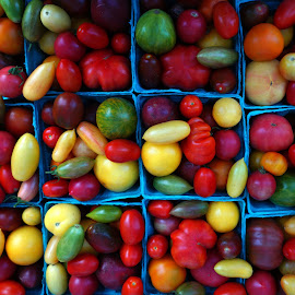 Tomatoes Of All Shapes, Sizes and Colors by Victor Mirontschuk - Food & Drink Fruits & Vegetables ( market, cities, colors, nyc, places, tomatoes )