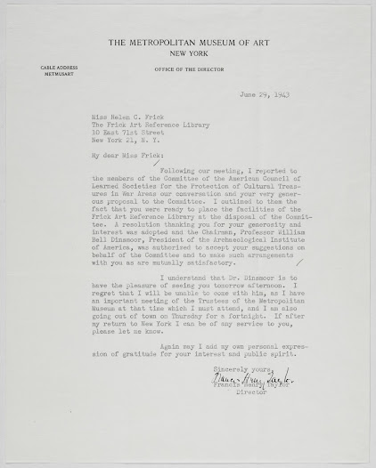 Letter from Francis Henry Taylor, Director of the Metropolitan Museum of Art, to Helen Clay Frick, founder and Director of the Frick Art Reference Library, announcing that the Committee of the American Council of Learned Societies on Protection of Cultural Treasures in War Areas has accepted Miss Frick's offer to put the facilities of the Library at the disposal of the Committee.