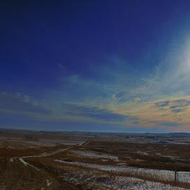 Lit path by Dustin White - Novices Only Landscapes ( hills, snow, road, landscape, prairie, sun )