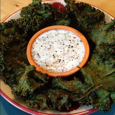 Crispy Kale Chips with Kefir Ranch Dip