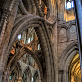 Arches At Wells Catheral  by Simon Eastop - Buildings & Architecture Places of Worship ( wells, interior, somerset, arches, cathedral )