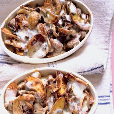 Roasted Potatoes and Mushrooms with Melted Taleggio Cheese