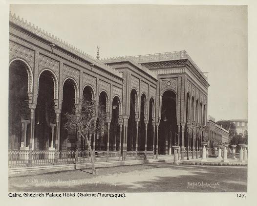 """Det """"moriska galleriet"""" på Gezirah Palace, som var ett av de flottare hotellen i Kairo vid förra sekelskiftet."""