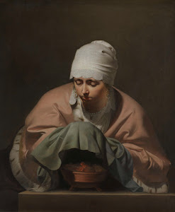 RIJKS: Caesar Boëtius van Everdingen: A Young Woman Warming her Hands over a Brazier: Allegory of Winter 1648