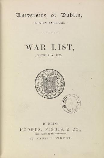 War List for Trinity College Dublin
