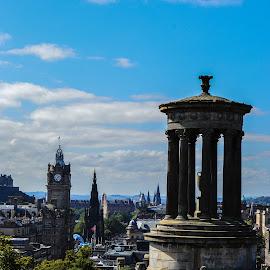 Edinburgh From Calton Hill by Lyndsay Hepburn - City,  Street & Park  Skylines ( balmoralhotelscottsmonumentandprincesstreet, .edinburghinaugust, edinburghskyline, edinburghviewfromcaltonhill, caltonview )