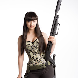 Rhealyn by Mark Miller - People Fashion ( girls, guns, corset, smile, commercial )