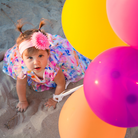 Rainbow Baby by Gary Kasl - People Family ( san diego, sand, colors, beach, baby, cute, balloon, rainbow, colorful, mood factory, vibrant, happiness, January, moods, emotions, inspiration )