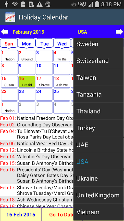 Holiday Calendar Screenshot 15