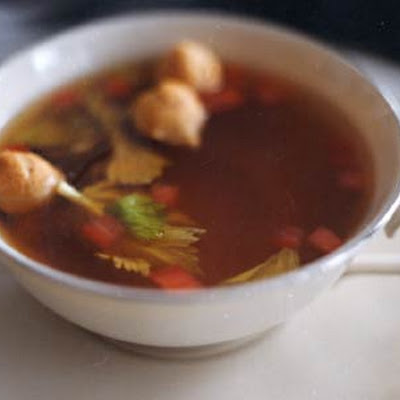 Tomato and Celery-Infused Beef Consommé with Tiny Choux Puffs