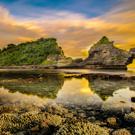 by Wisnu Taranninggrat - Landscapes Waterscapes ( bali, coral, sky, nusapenida, underwater, waterscape, atuh, sunset, reflections, long exposure, landscapes, rocks )
