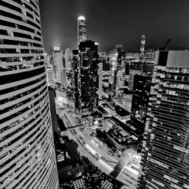 Inside the skyline by Amit Rajput - Buildings & Architecture Office Buildings & Hotels ( hong kong, skyline, black and white,  )