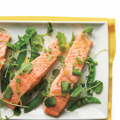 Poached Salmon and Snap Peas