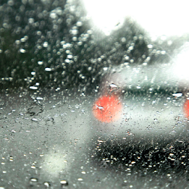 On the road by Antonio Amen - Abstract Patterns ( car, red lights, fog, drops, rain )