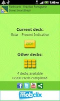 Screenshot of Flashcards - Portuguese, Set 1