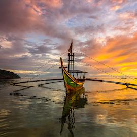 Waiting by Ade Noverzan - Transportation Boats ( sunset, twilight, beach, boat, dusk )