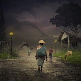 Night In The Countryside Atmosphere by Alfa Oldicius - Digital Art Things