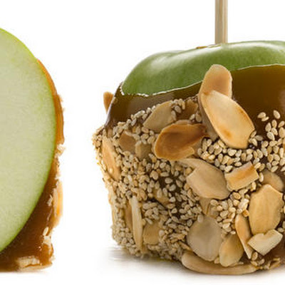 Marzipan Caramel Apples with Sesame and Almond