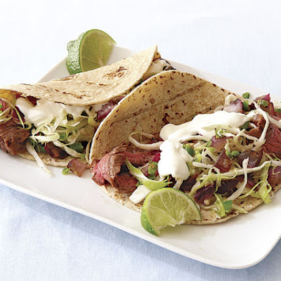 Grilled Steak Tacos with Spicy Slaw