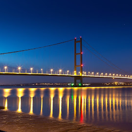 The Humber Bridge by Vince Cowell - Landscapes Sunsets & Sunrises