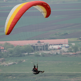 Paraglider in fly by by Зоран Милојковић - Sports & Fitness Other Sports ( sky, paraglider, bright, fly, one, white, cloudy, by, paraglajder, light, in )