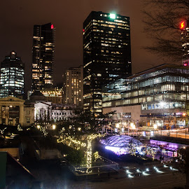 Robson and Hornby in Vancouver  by Cory Bohnenkamp - City,  Street & Park  Vistas ( hornby, night, vancouver, city, robson )