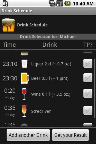 Drink Schedule