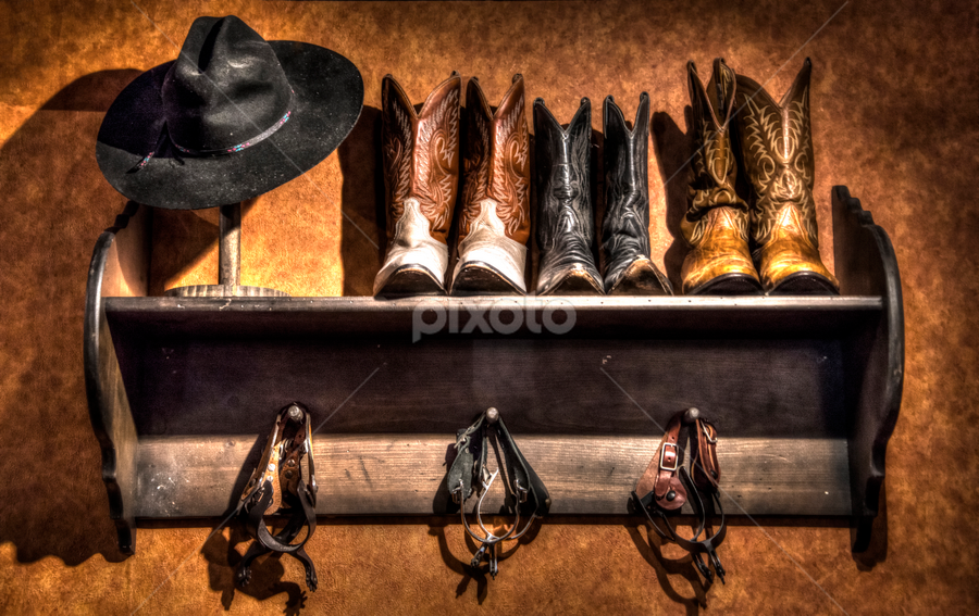 Cowboy Closet by Michelle Edwards - Artistic Objects Clothing & Accessories ( cowboy, cowboy hat, spurs, western, shelf, boots, hat )
