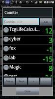 Screenshot of TCGLifeCalculator