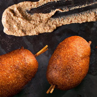 Mini Beer-and-Sausage Corn Dogs