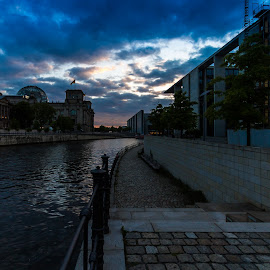 Sunset on Streets by Akhil Kabu - City,  Street & Park  Skylines ( sunset, street, germany, berlin, canal )