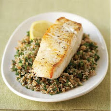 Seared Halibut on Lemon Tabbouleh