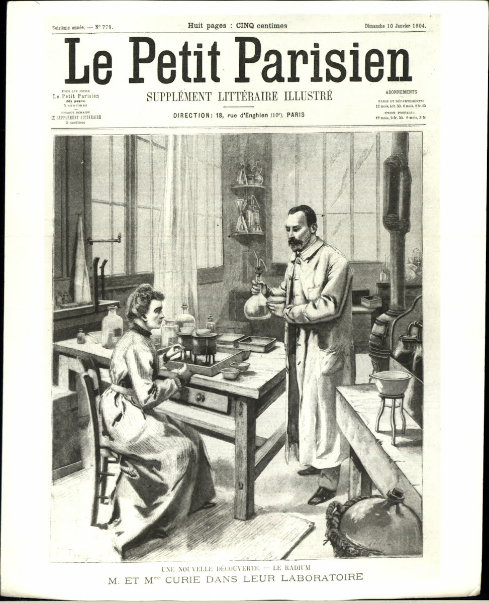 "Front page of ""Le Petit Parisien"" after their Nobel Prize in 1903"