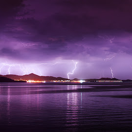 The Show Must Go On pt.II. by Zsolt Zsigmond - Landscapes Weather ( thunder, thunderstorm, sea, night, porple, storm )