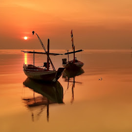 Just the Two of Us and the Sun by Ina Herliana Koswara - Transportation Boats ( water, boats, beach, sunrise, sun,  )