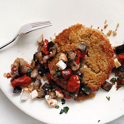 Quinoa Cakes with Eggplant-Tomato Ragù and Smoked Mozzarella