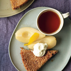 Almond Torte with Pears and Whipped Cream