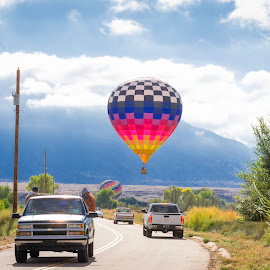 The Balloon Chase by Chris Bartell - Transportation Other ( field, hot air balloon, trucks, chase, balloon )