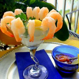 Shrimp Cocktail by Elfie Back - Food & Drink Plated Food ( shrimp, seafood, cocktail, blue, orange. color )