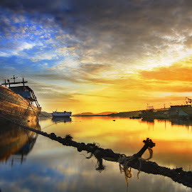 Drop Anchor Reflection  by Nandy Rery - Landscapes Sunsets & Sunrises (  )