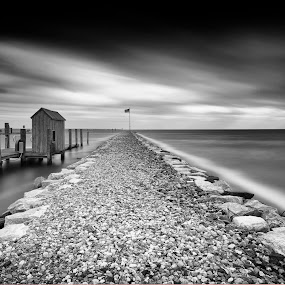see how the wind blows by Edward Kreis - Black & White Landscapes ( clouds, lee big stopper, black and white, windy, herrington harbour, silky smooth, chesapeake bay, jetty, morning, neural density, lee filters, daytime, 0.9 gnd, cold, breezy, sunday, movement, friendship, maryland, long exposure, lee foundation,  )
