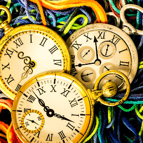 Anyone Have the Time by Bonnie Davidson - Artistic Objects Antiques ( abstract, canon 6d, macro, time, colorful, clocks, yarn, watches,  )